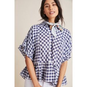 anthropologie maeve flounce gingham blouse